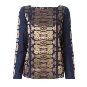 Tory Burch Jacquard Cotton/Silk Tunic, Navy/Gold